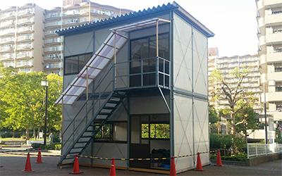 敷島ハウス工業株式会社のプレハブハウス。仮設事務所、詰所など柔軟に対応します